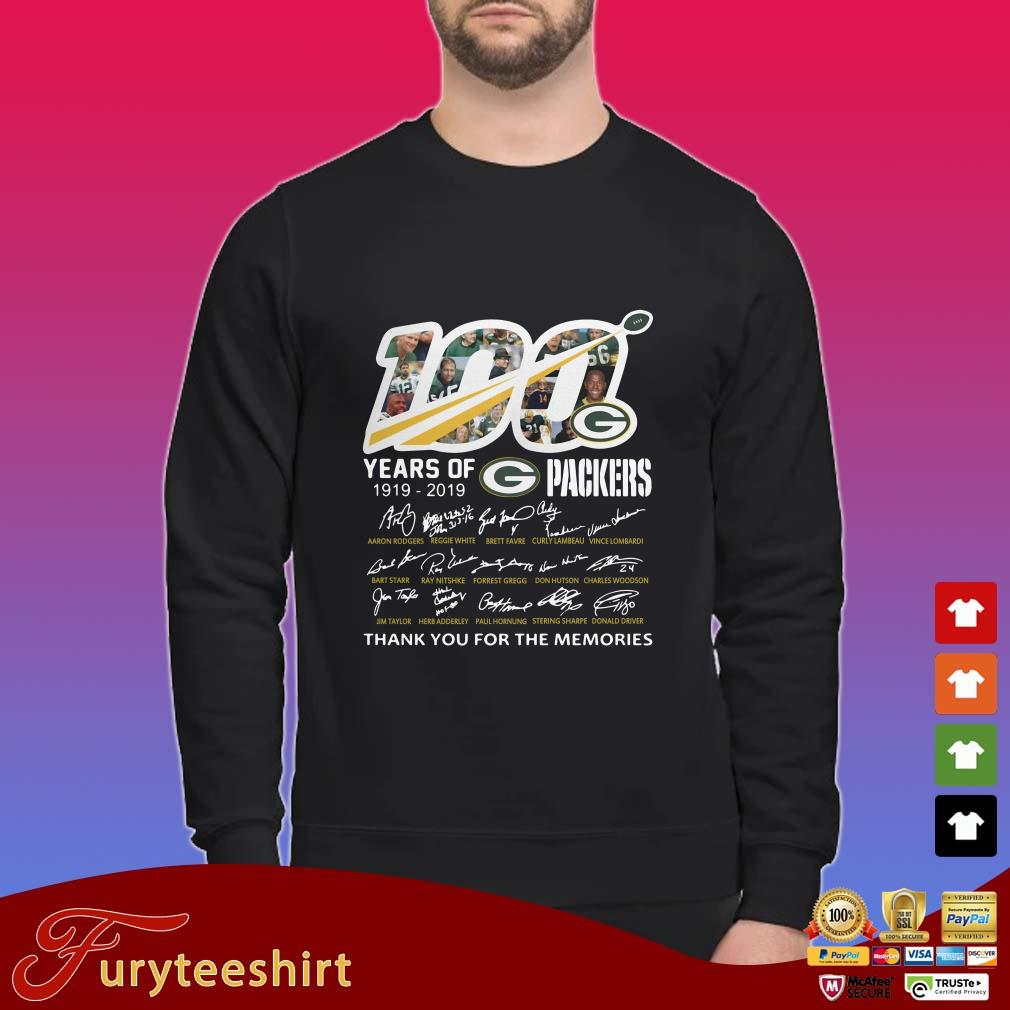 100 years of 1919 2019 Green Bay Packers thank you for the memories signatures shirt