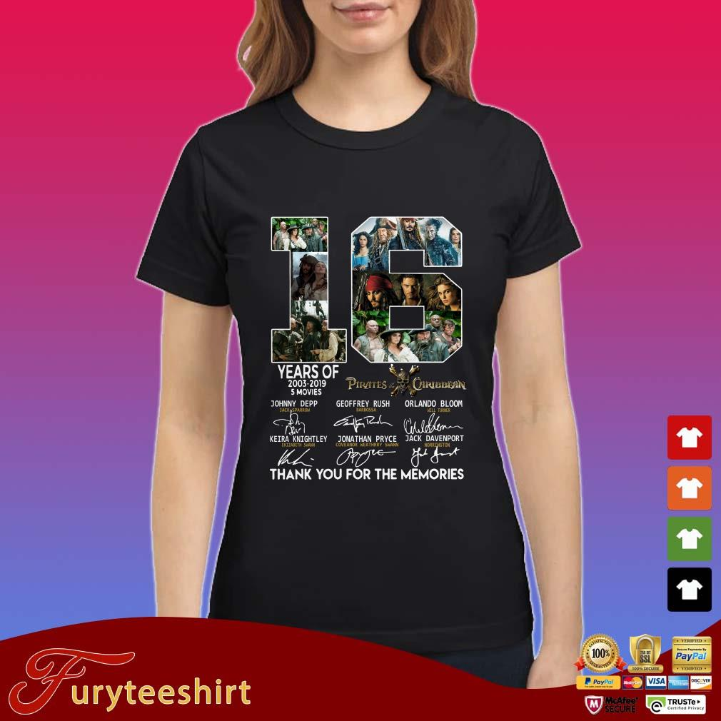 16 years of Pirates the of Caribbean thank you for the memories shirt