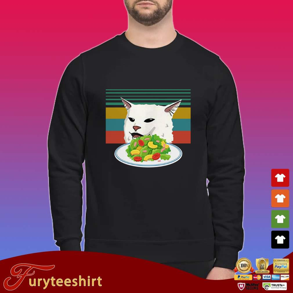 Angry Women Yelling at Confused cat at Dinner Table Meme Funny Vintage Sweater