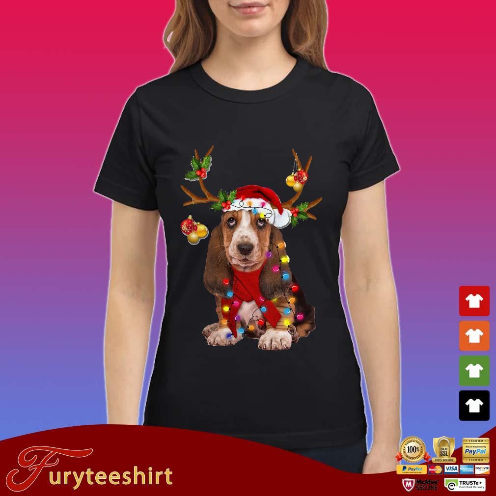 Basset hound reindeer light Christmas Sweater