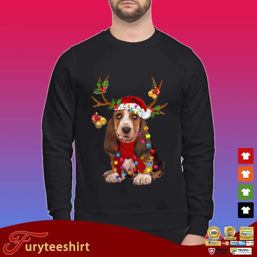 Basset hound reindeer light Christmas Sweater