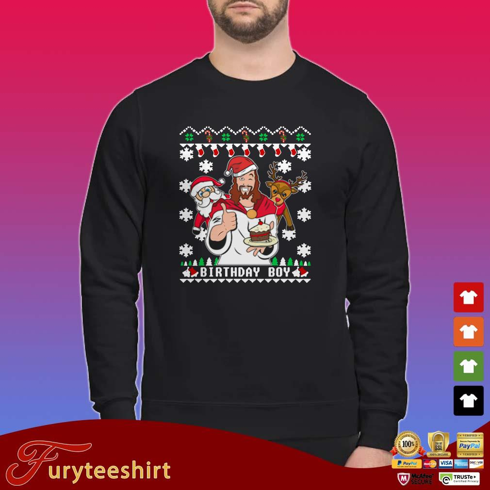 Birthday Jesus Santa And Reindeer Ugly Christmas Sweater
