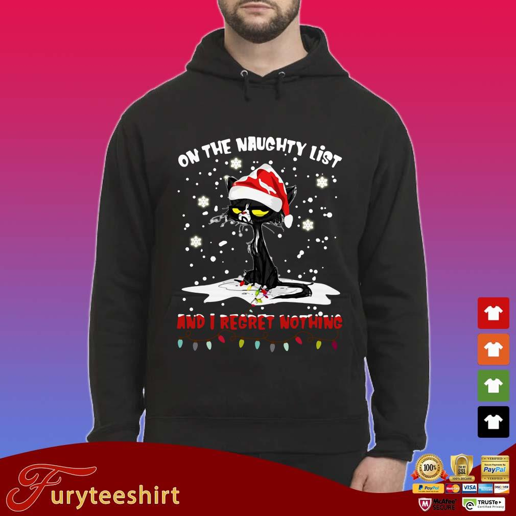 Black Cat Santa On The Naughty List And I Regret Nothing Christmas Hoodie