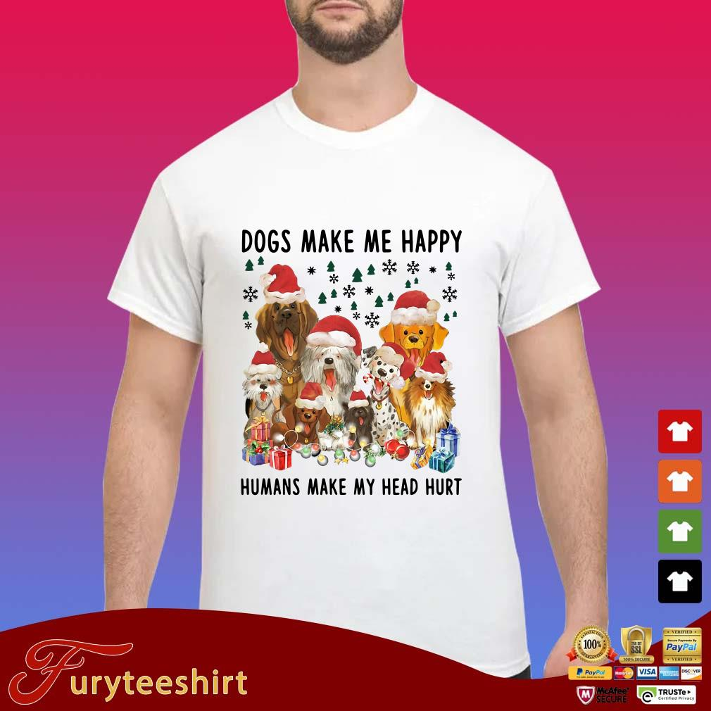 Santa Dogs Make me Happy Humans Make My Head Hurt Christmas Sweater
