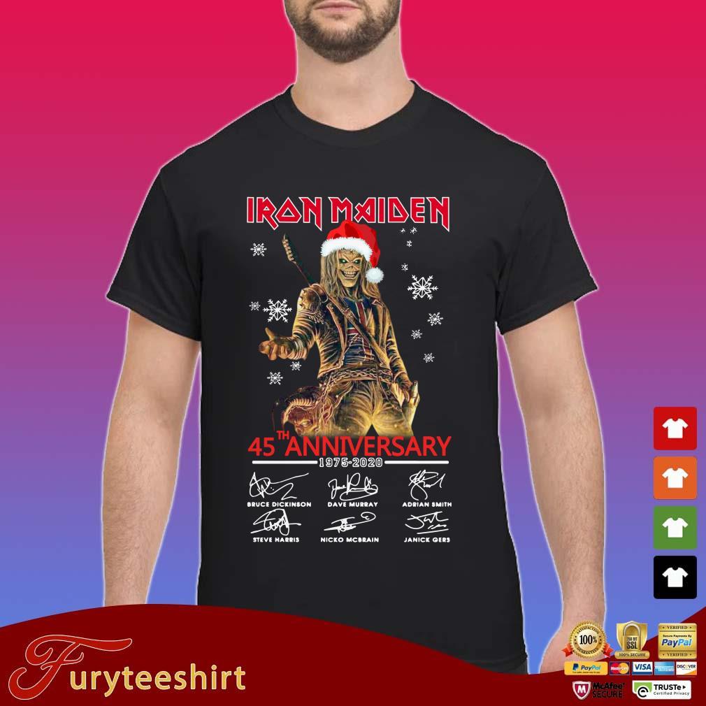 Iron Maiden Santa 45th anniversary 1975 2020 signatures Christmas Shirt