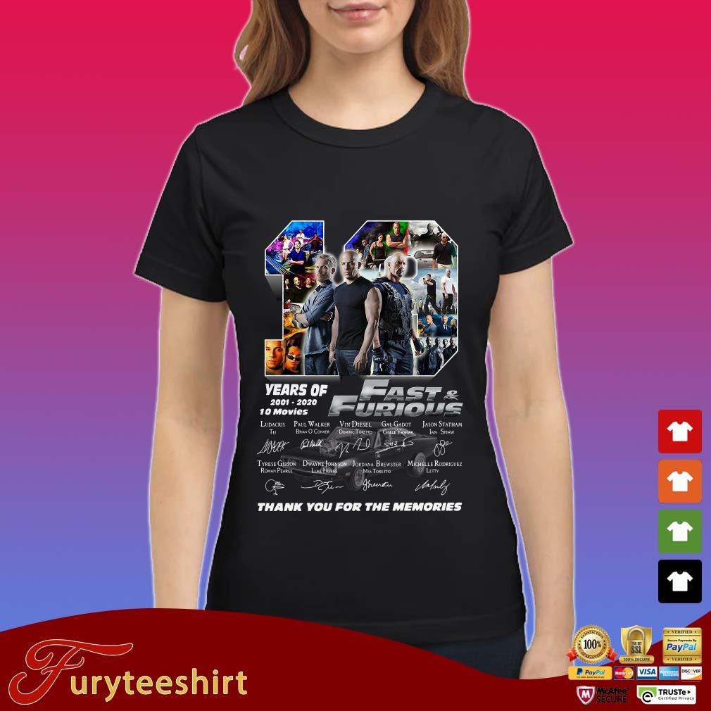 19 Years Of 2001 2020 Fast Furious Thank You For The Memories Shirt