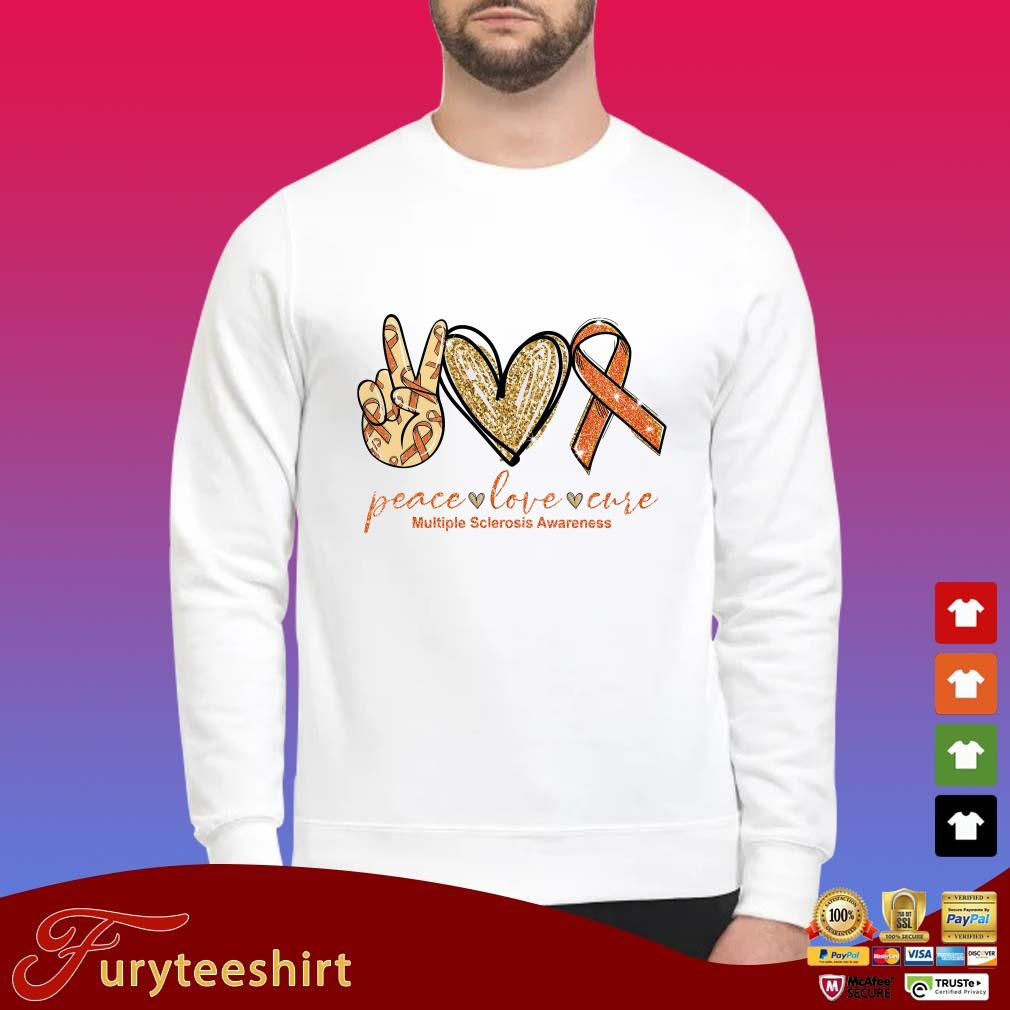 Peace Love Cure Multiple Sclerosis Awareness Tee Shirt