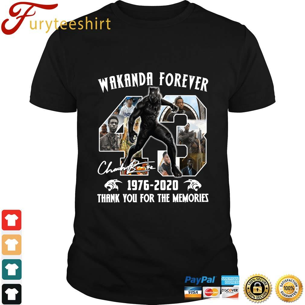 Black Panther Wakanda forever 43 1976 2020 thank you for the memories signature shirt
