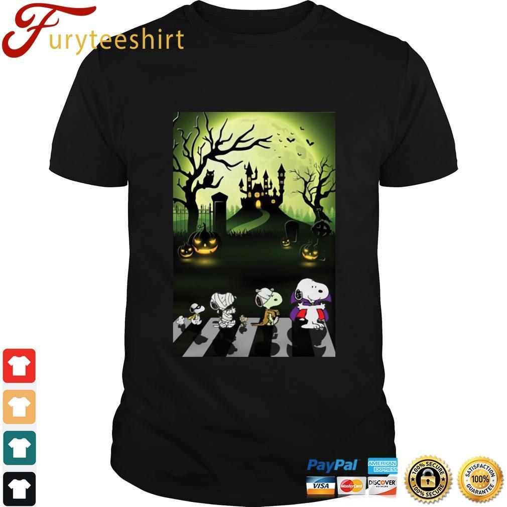 The Peanuts Snoopy abbey road Halloween moon shirt