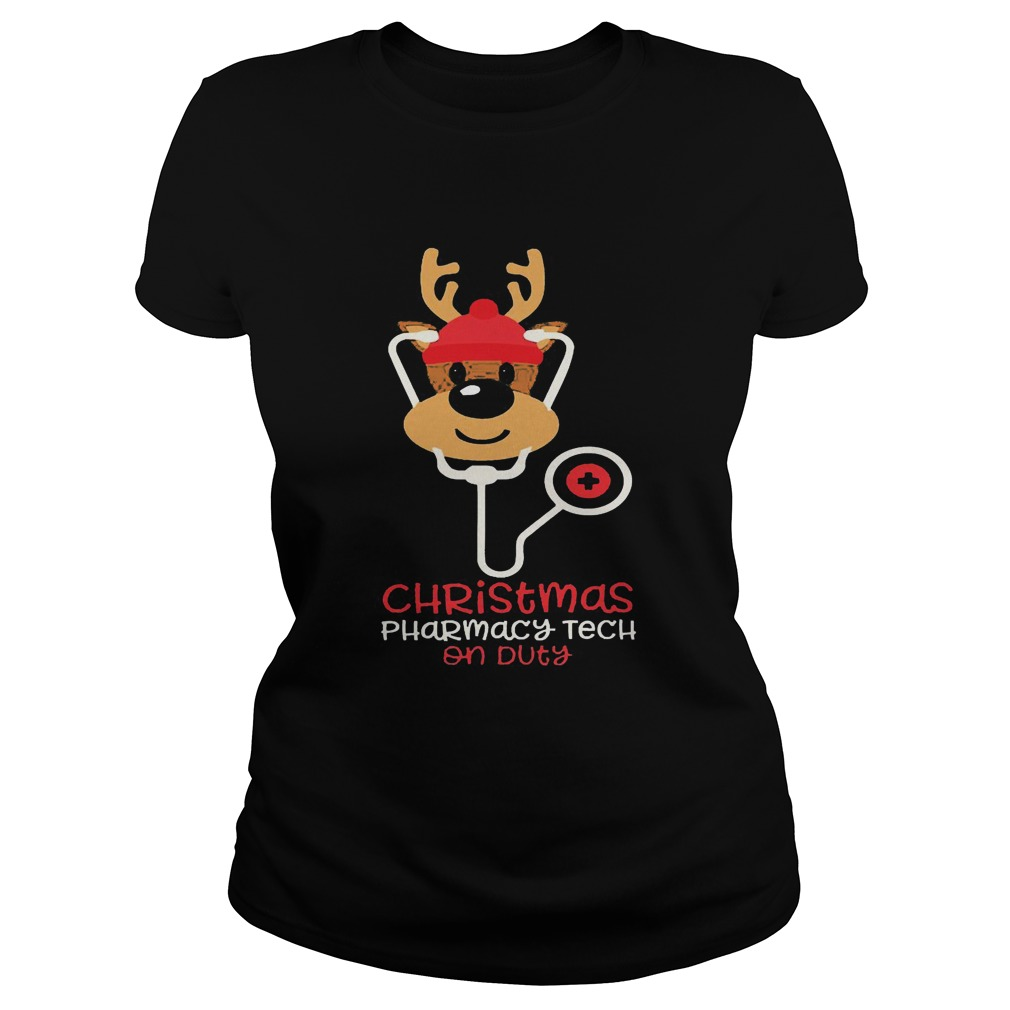 Christmas Pharmacy Tech On Duty Reindeer Nurse  Classic Ladies