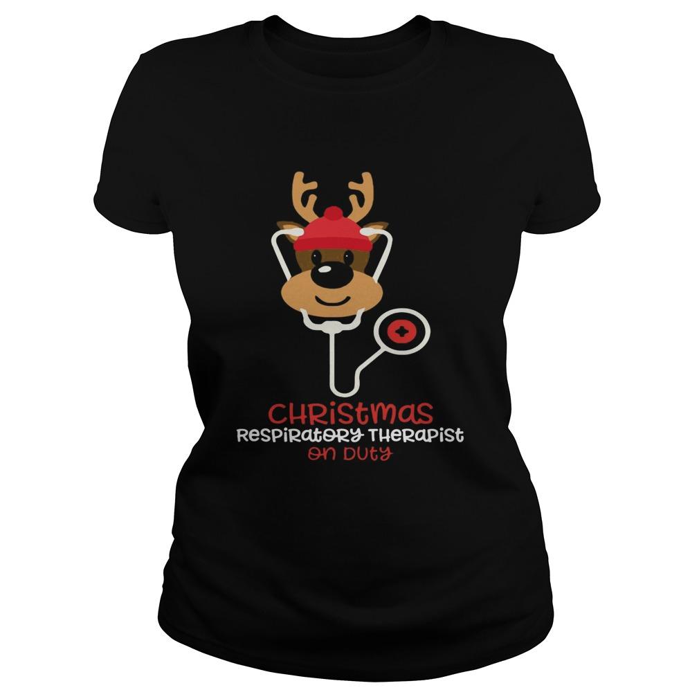 Christmas Respiratory Therapist Reindeer Nurse On Duty  Classic Ladies