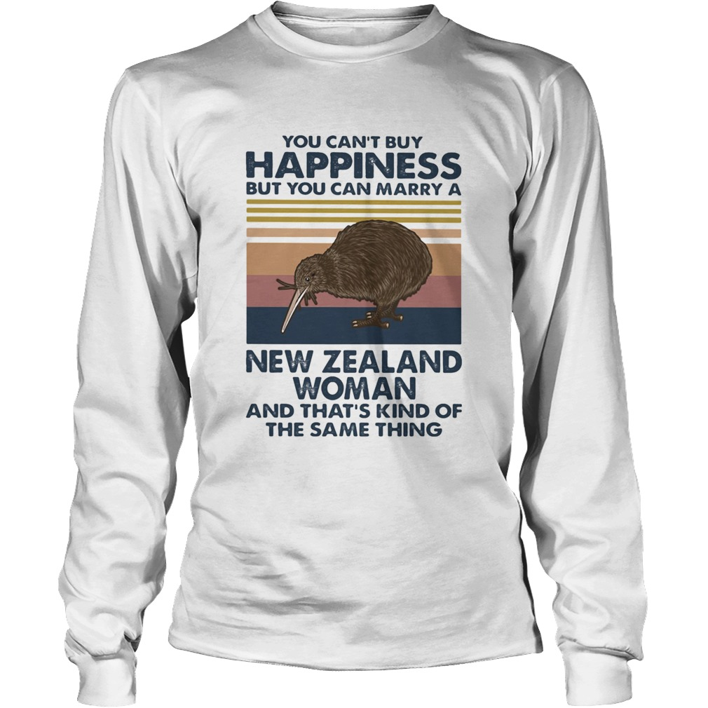Kiwi Bird You Cant Buy Happiness But You Can Marry A New Zealand Woman Vintage Retro  Long Sleeve