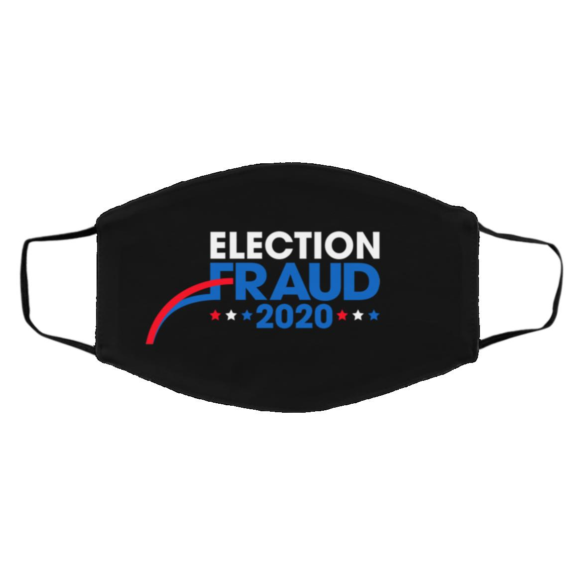 Election Fraud 2020 Face Mask Cover, Black, Cloth Face Cover – Medium/Large