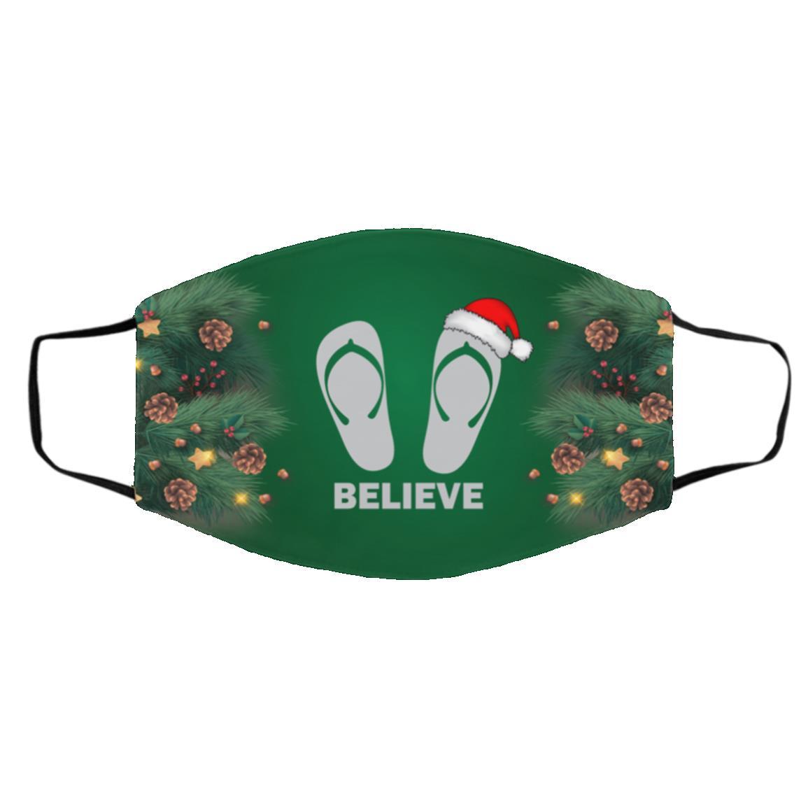 Flip-flop Christmas Believe Santa, White, Cloth Face Cover – Medium/Large