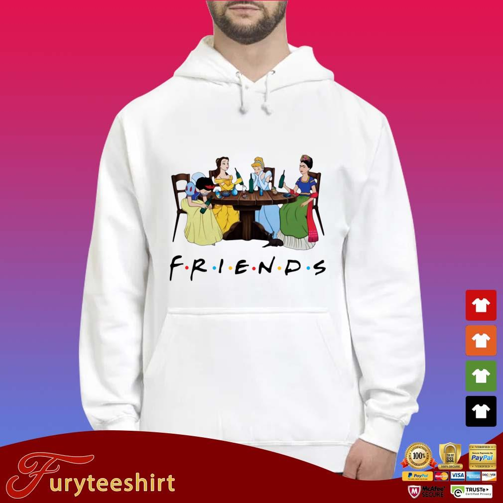 Frida Kahlo and Disney princesses drinking Friends TV show t-s Hoodie trắng