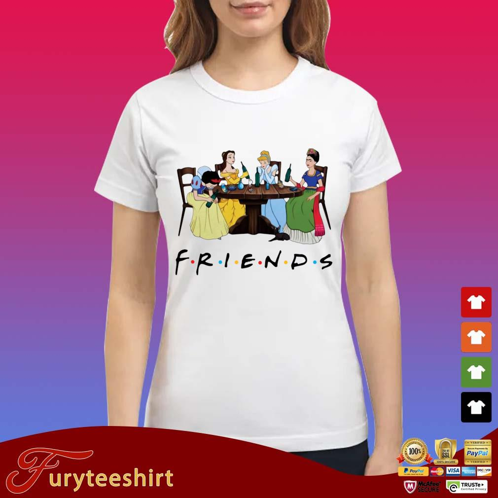 Frida Kahlo and Disney princesses drinking Friends TV show t-s Ladies trang
