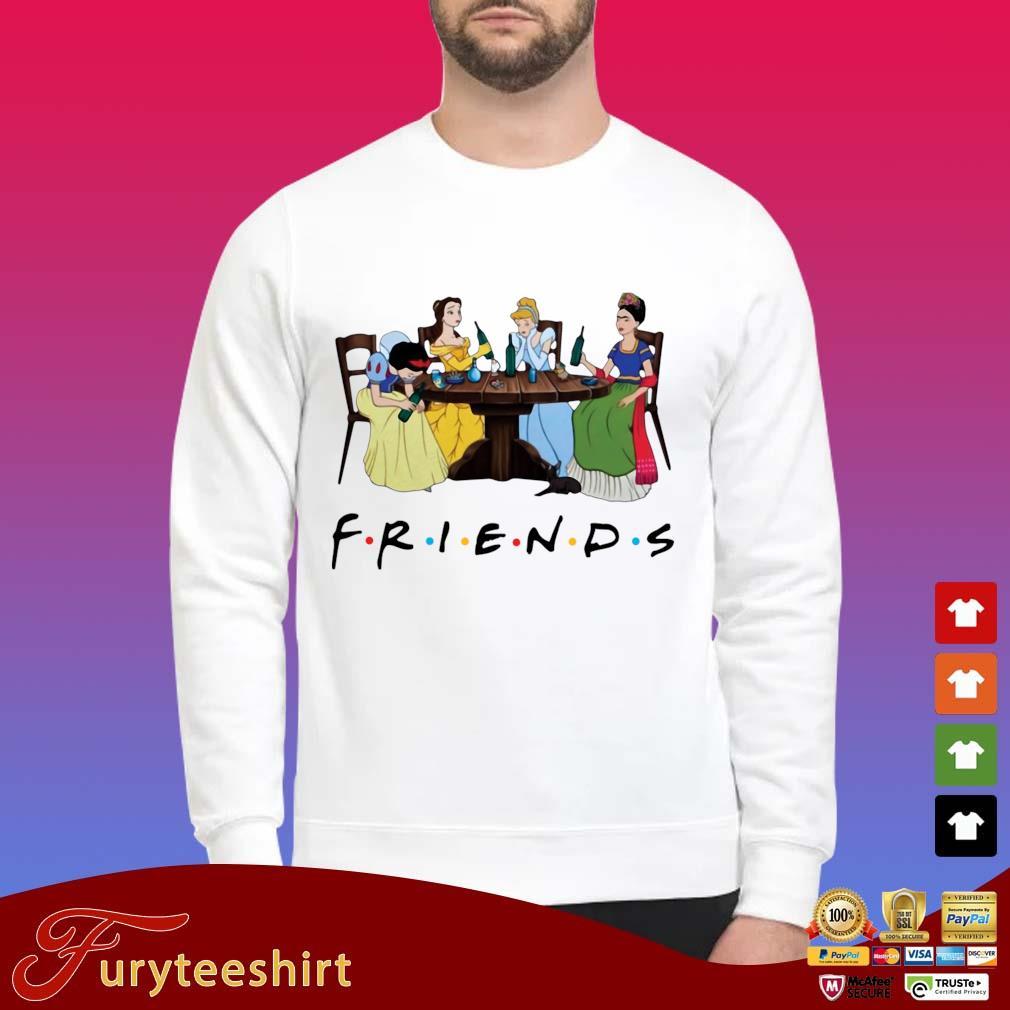 Frida Kahlo and Disney princesses drinking Friends TV show t-shirt