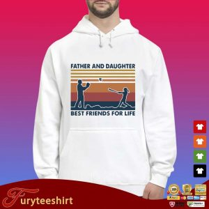 Funny Softball Father And Daughter Best Friends For Life Vintage Shirt Hoodie trắng