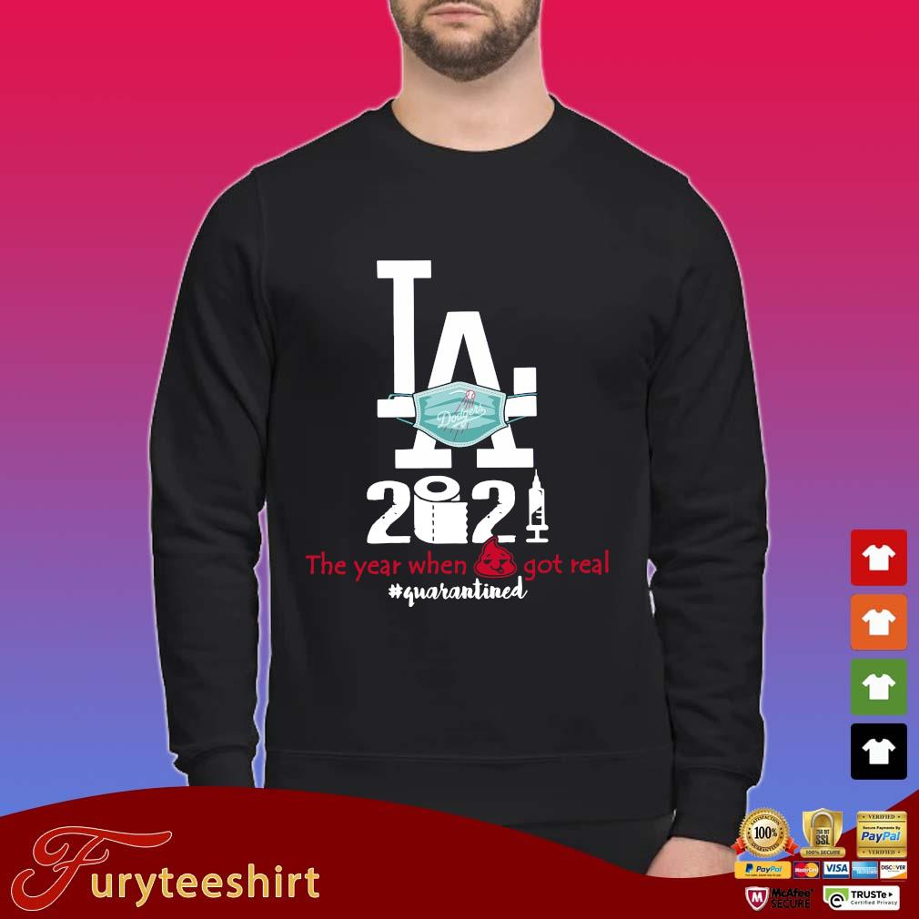 Los Angeles Dodgers face mask 2021 the year when got real #quarantined shirt