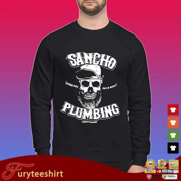 Sancho laying pipe day and night plumbing shirt