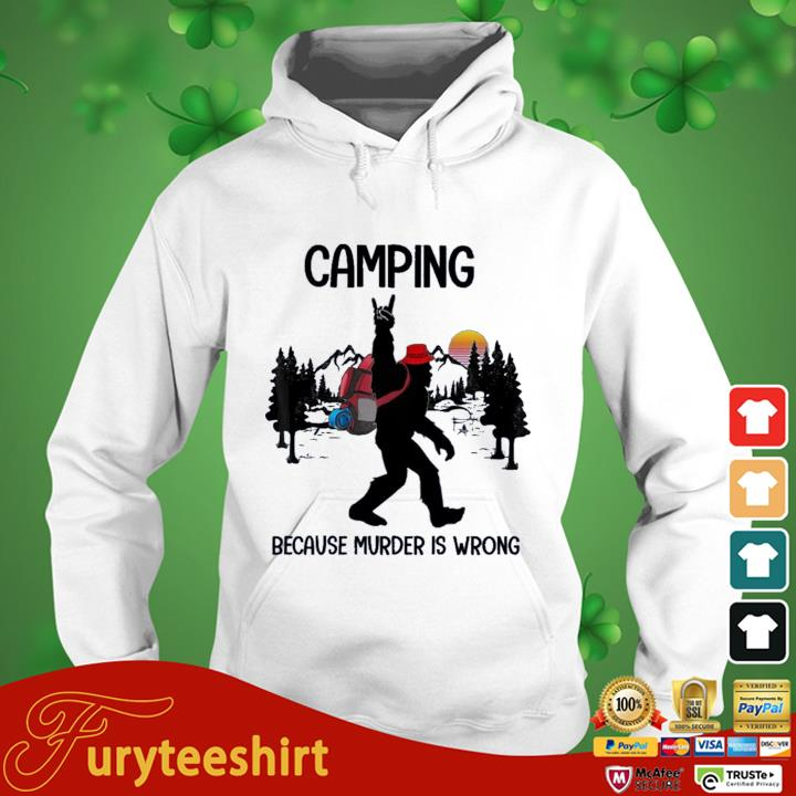 BIgfoot camping because murder is wrong sunset hoodie trang