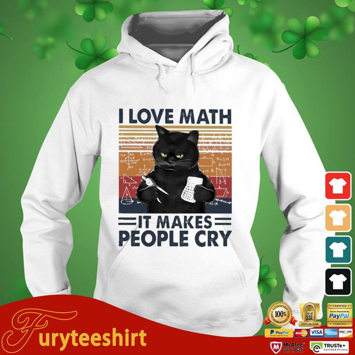 Black cat I love math it makes people cry vintage hoodie trang