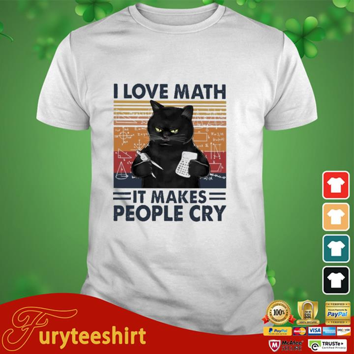 Black cat I love math it makes people cry vintage shirt