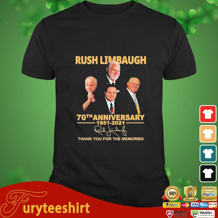 Rush Limbaugh 70th Anniversary 1951-2021 Signature Thank You For The Memories Shirt
