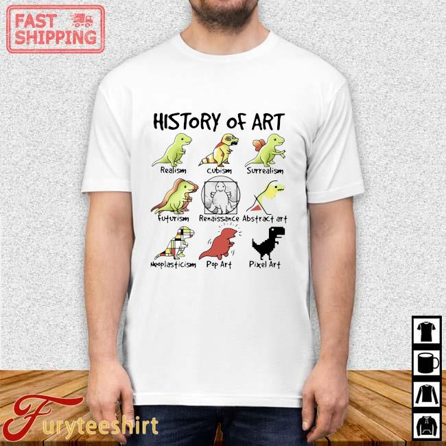 Dinosaurs history of art realism cubism surrealism shirt