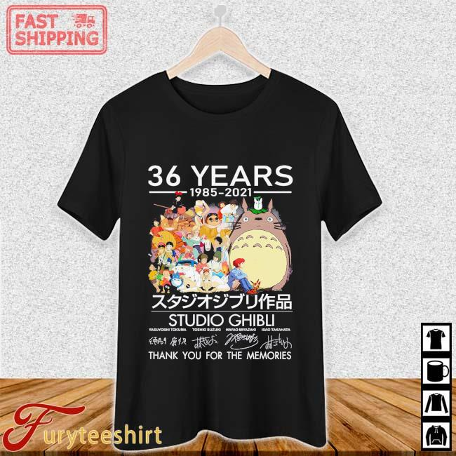 36 Years 1985 2021 Studio Ghibli Signatures Thank You Shirt